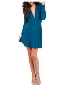 Jane Norman Turquoise Asymmetric Jersey Dress