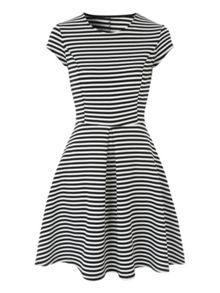 Jane Norman Black And White Stripe Skater Dress