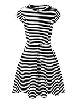 Black And White Stripe Skater Dress