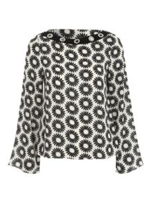 Jane Norman Woven Eyelet Shell Daisy Print Top