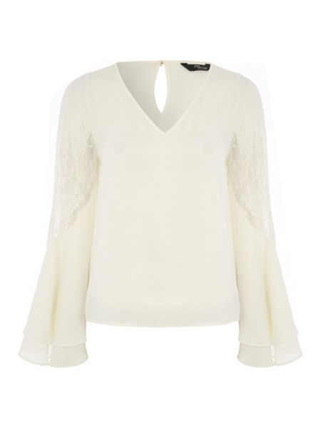 Jane Norman Cream Woven Exaggerated Sleeve Lace Top