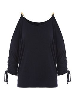 Navy Jersey Top with Gold Chain Shoulder