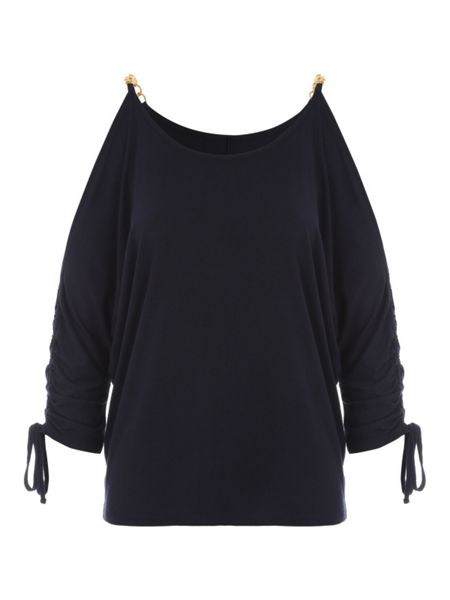 Jane Norman Navy Jersey Top with Gold Chain Shoulder