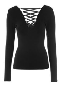 Jane Norman Reversible Lace Up Ribbon Top
