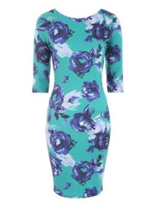 Blue Floral Printed Bodycon Jersey Dress