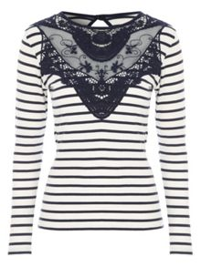 Jane Norman Long Sleeve Brocade Detail Top