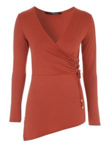 Jane Norman D-Ring Asymmetric Wrap Jersey