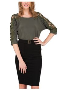 Jane Norman Khaki Crochet Batwing Top