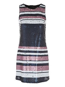 Mid Blue Sequin Stripe Sleeveless Dress