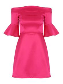 Jane Norman Pink Satin Fit and Flare Dress