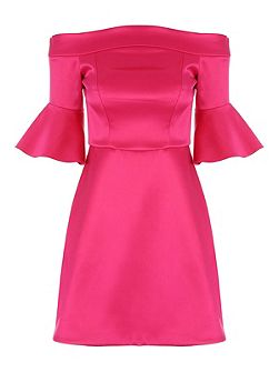 Pink Satin Fit and Flare Dress