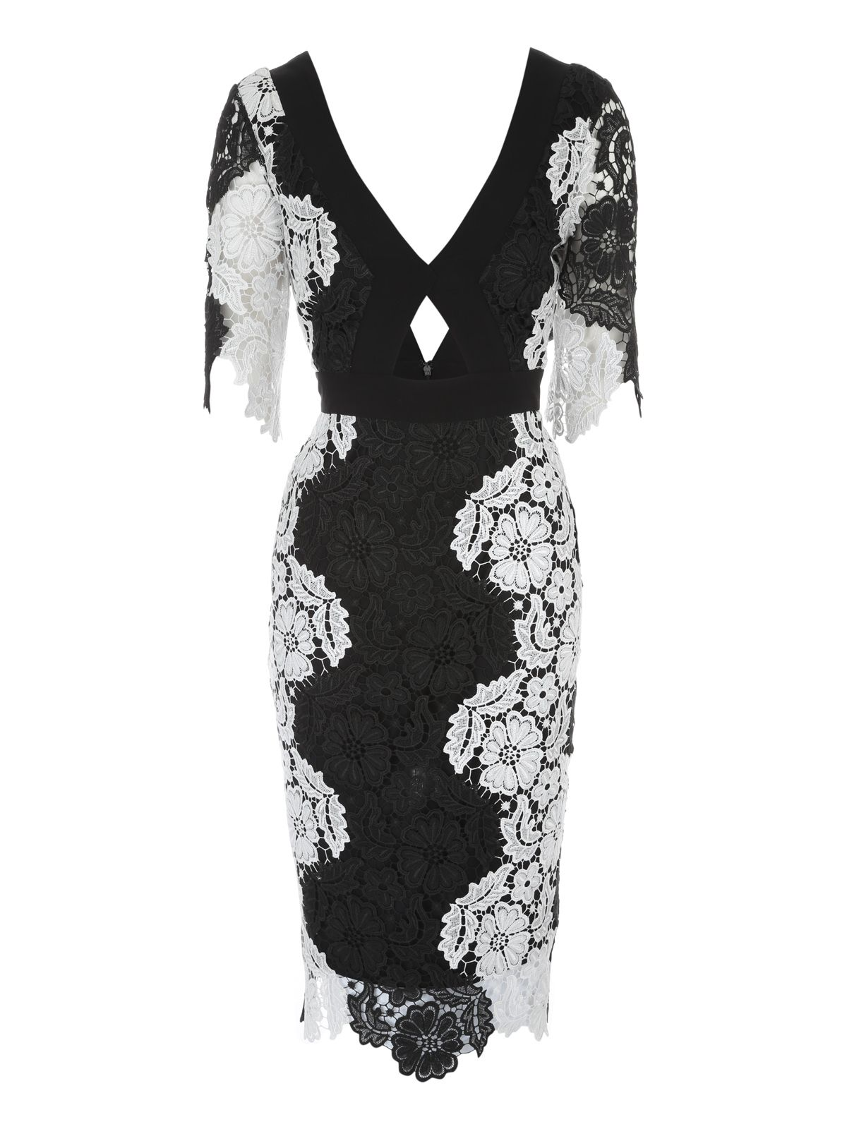 Jane Norman Mono Lace Midi Dress, Black/White