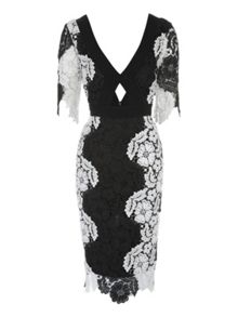 Jane Norman Mono Lace Midi Dress