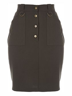 Ring Buttoned Detail Pencil Skirt