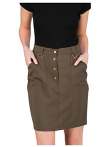 Jane Norman Ring Buttoned Detail Pencil Skirt