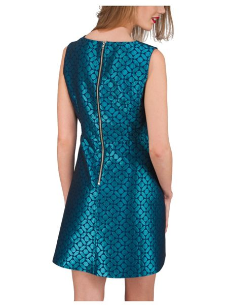 Jane Norman Green Jacquard V Neck Dress