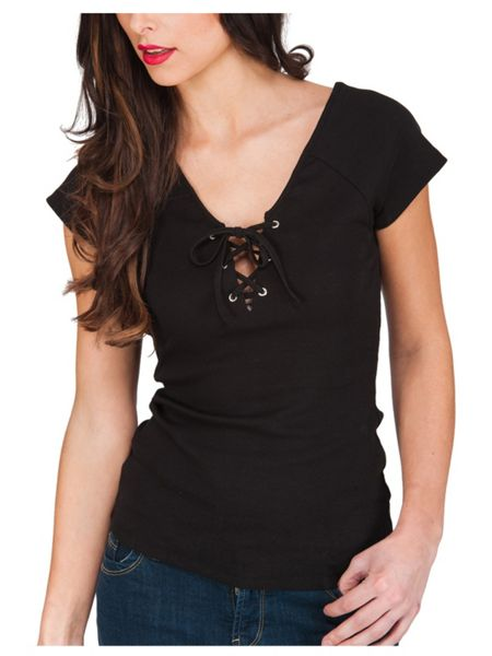 Jane Norman Lace Up V- Neck Top