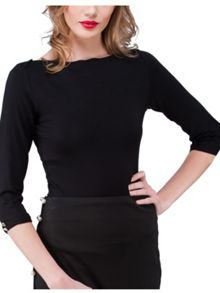 Jane Norman 3/4length boat neck top