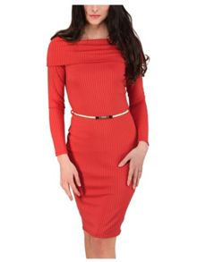 Jane Norman Rust Bardot Rib Dress