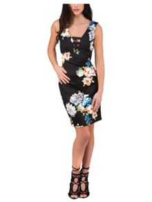 Black Floral Printed Ladder Front Dress