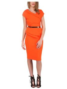 Jane Norman Orange Origami Peplum Dress