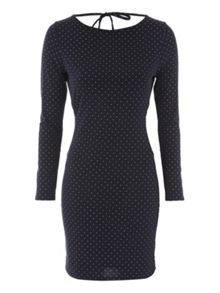 Mid Blue Cowl Back Metallic Spot Dress