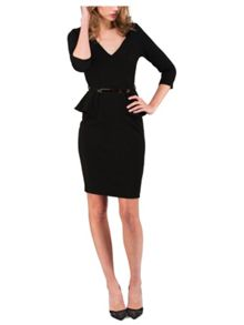 Jane Norman Long Sleeve Belted Peplum Dress