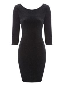 Jane Norman Black Velvet Glitter Dress