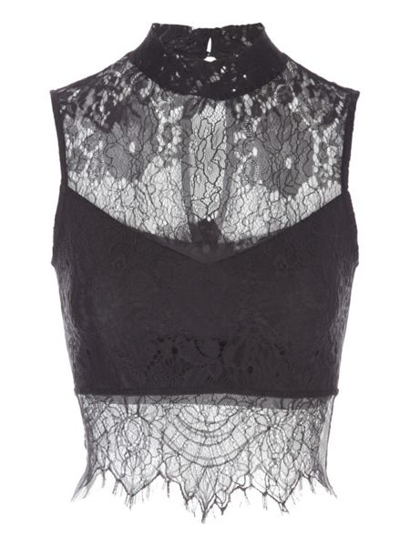 Jane Norman Black High Neck Lace Crop Top