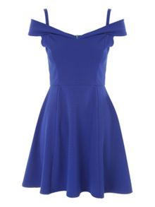 Jane Norman Blue Bardot Skater Dress