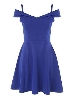 Blue Bardot Skater Dress