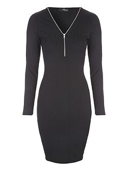 Rib Zip Neck Dress