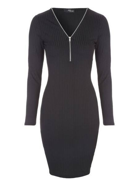 Jane Norman Rib Zip Neck Dress
