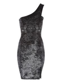 Jane Norman Silver Velvet One Shoulder Dress