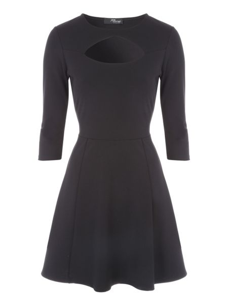 Jane Norman Black Keyhole Skater Dress