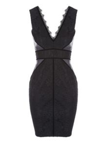 Jane Norman Black Bonded Lace Velvet Dress