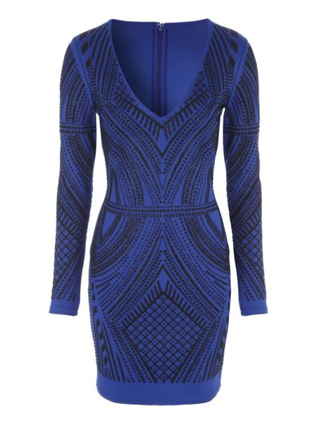 Jane Norman Blue Caviar Long Sleeve Dress