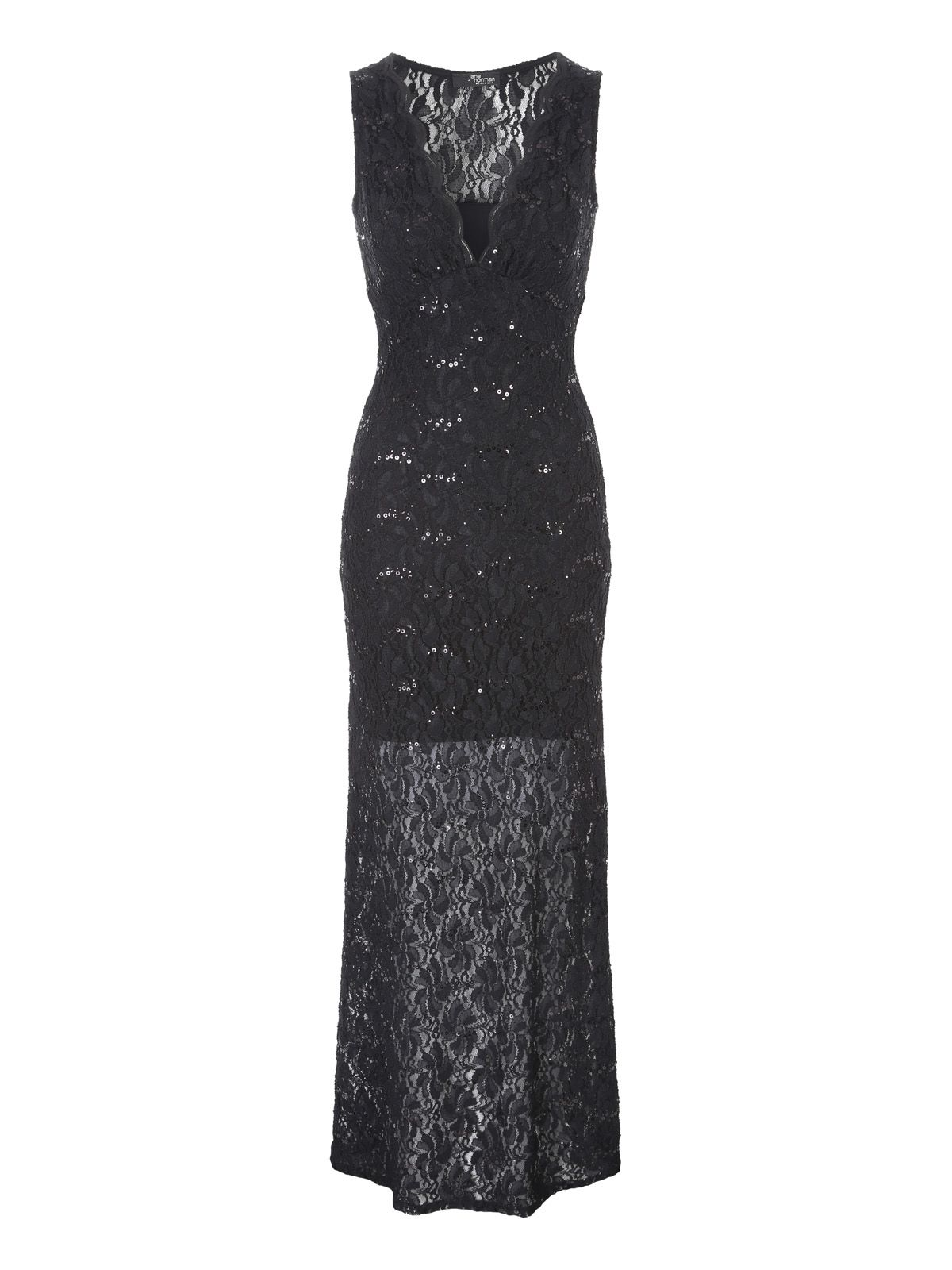 Jane Norman Sequin Lace Maxi Dress, Black