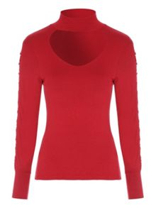 Jane Norman Choker Neck Ring Sleeve Top