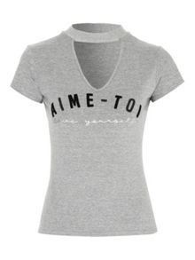 Jane Norman Choker Slogan T-Shirt