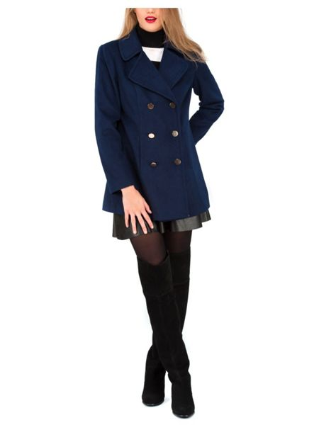 Jane Norman Navy Double Breasted Pea Coat