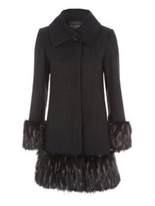 Jane Norman Black Fur Cuff & Hem Coat