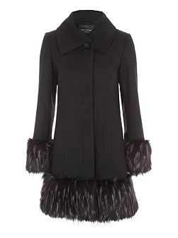 Black Fur Cuff & Hem Coat
