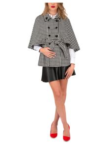 Jane Norman Mono Dogtooth Belted Cape Jacket
