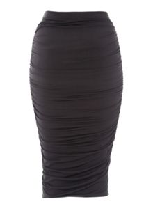 Black Slinky Ruched Skirt