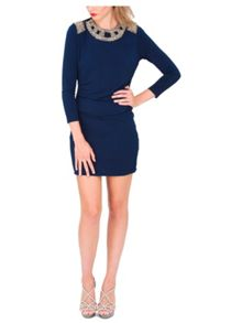 Jane Norman Navy Open Back Embellished Dress