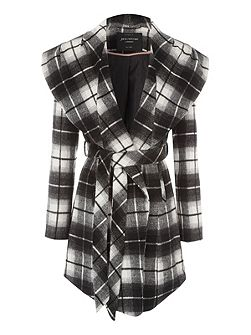 Mono Check Wrap Coat