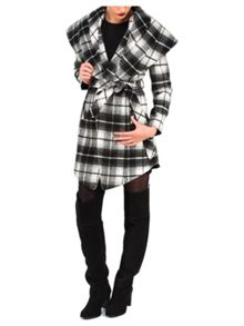 Jane Norman Mono Check Wrap Coat