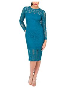Jane Norman Blue Baroque Lace Dress