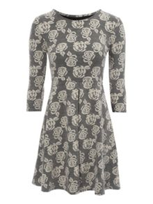 Grey Jacquard Rose Dress